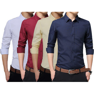 London Looks Men's Cotton Graphic Print Regular Collar Comfort Fit Shirts (Combo Of 4)