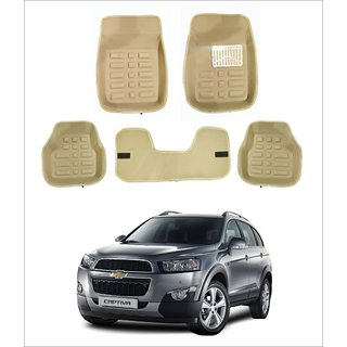 Trigcars Car Carpet  Cream Car Floor/Foot Mats for Chevrolet Captiva Free Bluetooth