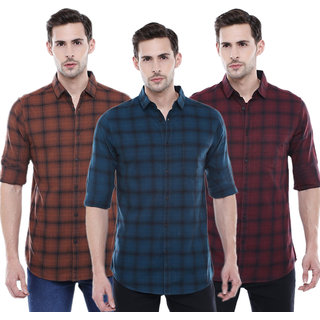 29K Pack Of 3 Checkered Casual Slim fit Shirts