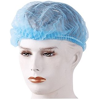 Recombigen Disposable Stretchable Blue Bouffant Caps /Cooking Caps (100 Pieces)