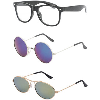 Amora Multi Color Aviator Sunglasses Pack of 3