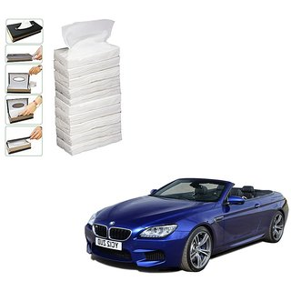 Auto Addict Car Tissue Paper Refiller for Dispenser Box Set of 10 with 200 Sheets(100 Pulls) in Each For BMW 6 Series