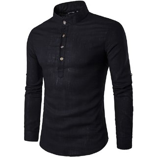 Black Cotton Men Sort Kurta
