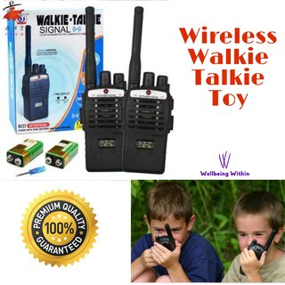Wellbeing Within Wireless Interphone Walkie Talkie Portable For Kids (Set of 2) with 9V Battery