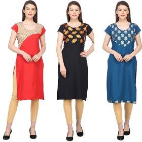 Aiza collection Multicolor crepe Foil Designer Stitched Women Kurti combo Pack Of 3