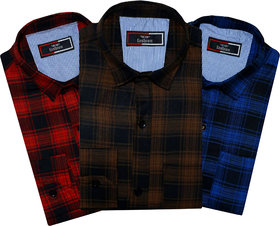 Spain Style Men Checkered Casual Slim Fit Multicolor Shirts ( Pack of 3 )