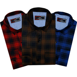 Spain Style Checkered Casual Slim fit Multicolor Men's Shirts ( Pack of 3 )