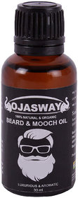 OJASWAY Beard  Mooch Oil Growth Serum for Oily Skin 100 Natural Oil - 30 ml