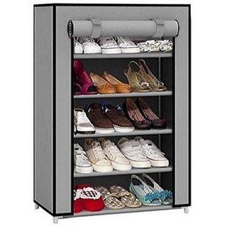 Caxon Storage Cabinet 5 Layer Metal Collapsible Shoe Rack (Grey 5 Shelves)