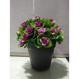Purple Roses in Black pot