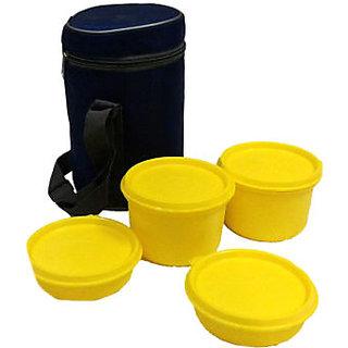 Plastic Lunch Box with Insulated Bag 4 Pcs
