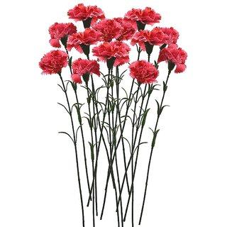 Golden Cart Single Carnation Artificial Flowers (Set of 101 Dark Pink)