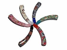 Plastic Hair Clutcher/Hair Claw Clip for Girls  Women Medium Size Multicolor pack of 6 (Random Assorted Colour  Design
