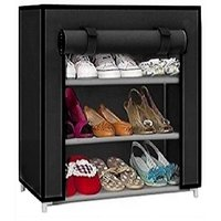Caxon Multipurpose Use storage stand Metal Collapsible Shoe Stand  (Black, 3 Shelves)