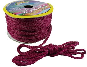 Utkarsh 18 Mtr Dark Pink Silk Zari Twisted Thread/Dori Lace For Sewing,Bead Art, Piping, Apparels, Wrapping, Handicrafts
