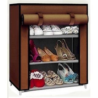 Caxon Multipurpose Use storage stand Metal Collapsible Shoe Stand  (Brown, 3 Shelves)