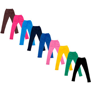 IndiWeaves Baby Girls Cotton Solid Leggings (Pack Of 9)