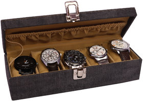 Jhola Basta Distress Finish Canvas watch box for 5 watches