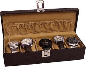 Jhola Basta Crocodile Finish FauxPU Watch Box For 5 Watches