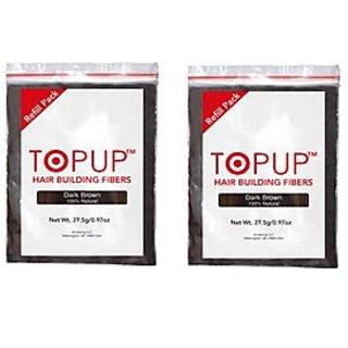 TOPUP (Dark Brown) Hair Building Fiber Refill Bag - 27.5 grams Pack of 2