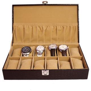 Jhola Basta Crocodile Finish FauxPU Watch Box For 12 Watches