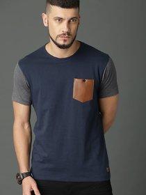 29K Men's Blue & Grey Cotton Blend Round Neck T-Shirts