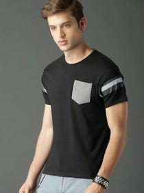 29K Men's Black Cotton Blend Round Neck T-Shirts