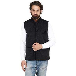 Vixeen Men's Nehru and Modi Jacket Waistcoat Black Color Winter Wear Ethnic Style For Party Wear
