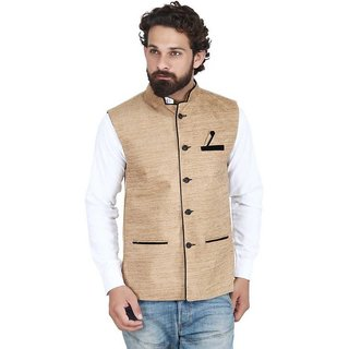 Men's Nehru and Modi Jacket Waistcoat Cream Color Ethnic Half Jacket Style For Party Wear