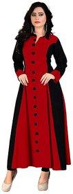 Fabclub Women's Rayon Princess Cut Red Kurta