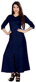 Fabclub Women's Rayon A-Line Navy Blue Kurta