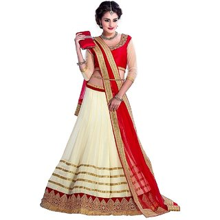 Florence Womens Beige Net Embroidered Semi Stitched Lehenga Choli