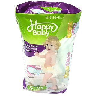 8 Pcs Happy Baby Diaper with 12 Hrs. Extra Absorbent