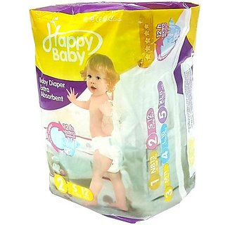 12 Pcs Happy Baby Diaper with 12 Hrs. Extra Absorbent
