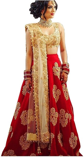 Buy Florence Women S Red Taffeta Embroidered Lehenga Choli Online Get 81 Off