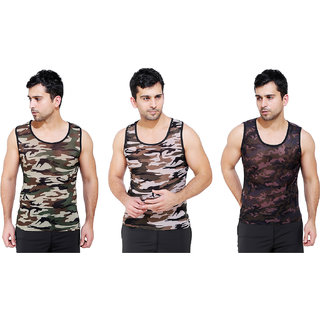 Royado Men's Sleeveless Army Commando Military Camouflage Printed Casual Cotton Sports Gym Wear Vest  3 Pcs Combo