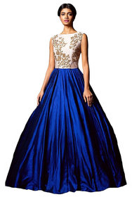 Florence Women's Blue Silk Embroidered Gown