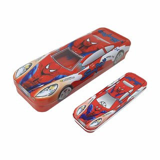Caviors Multicolour Cartoon Printed Car Shape Matal Pencil Box With Small Car For Kids(Spider Man)