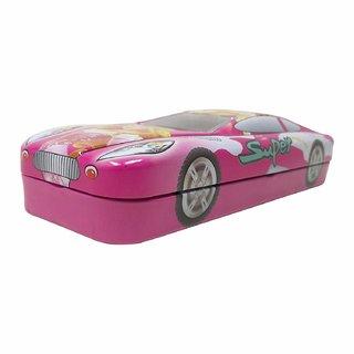 Caviors Multicolour Cartoon Printed Car Shape Matal Pencil Box With Small Car For Kids(Princes)