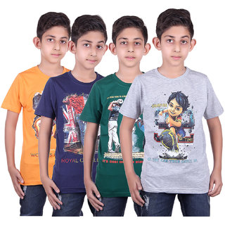 DUE EEX Kids Printed Multicolor Cotton t Shirts pack of 4 ( Assorted)