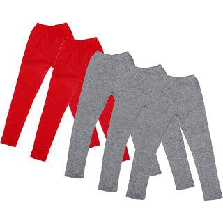 IndiWeaves Girl's Cotton Solid Leggings (Pack Of 5)