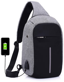 Style Homez Waterproof Anti Theft and USB Charging Crossbody Backpack Tablet Bag for  Ipad, Grey Black Color