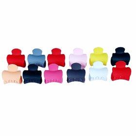 Plastic Hair Clutcher Medium Clip (Multicolour) - Set of 12
