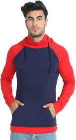BuyNewTrend Cotton Navy Red Full Sleeve Hoodie T-Shirt For Men