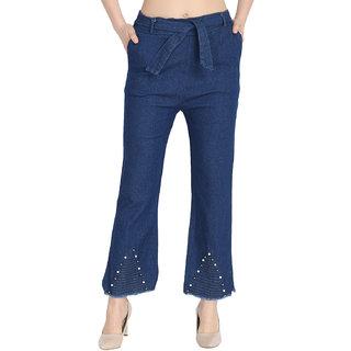 BuyNewTrend Denim Dark Blue Regular Fit Belted Palazzo Jeans For Women