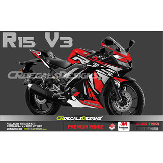 CR Decals YAMAHA R15 V3 Full Body Wrap/Custom Decals/Stickers RACE Edition Kit RED