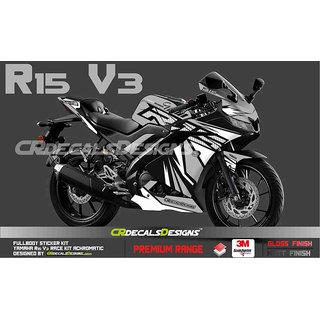 CR Decals YAMAHA R15 V3 Full Body Wrap/Custom Decals/Stickers RACE Edition Kit GREY