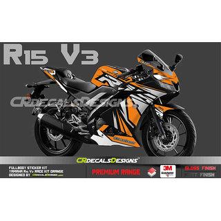 CR Decals YAMAHA R15 V3 Full Body Wrap/Custom Decals/Stickers RACE Edition Kit ORANGE