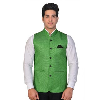 Wearza Mens Green Woven Cotton Blend Sleevless Rounded Bottom Nehru and Modi Jacket Ethnic Style For Party Wear Sizes