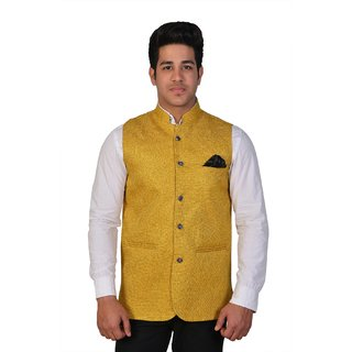 Wearza Mens Yellow Cotton Blend Sleevless Rounded Bottom Nehru and Modi Jacket Ethnic Style For Party Wear Sizes S-3XL